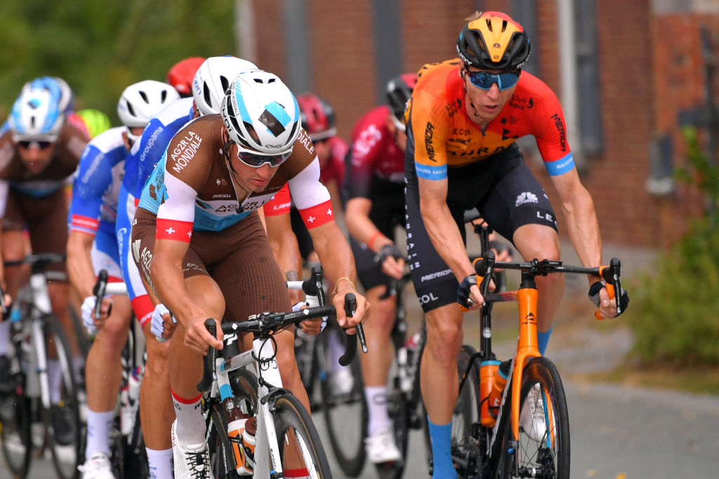 WAVRE BELGIUM AUGUST 17 Silvan Dillier of Switzerland and Team Ag2R La Mondiale Marcel Sieberg of Germany and Team Bahrain Mclaren Peloton during the 41st Tour de Wallonie 2020 Stage 2 a 1723km stage from Frasnes Lez Anvaing to Wavre TourdeWallonie TRW2020 on August 17 2020 in Wavre Belgium Photo by Luc ClaessenGetty Images