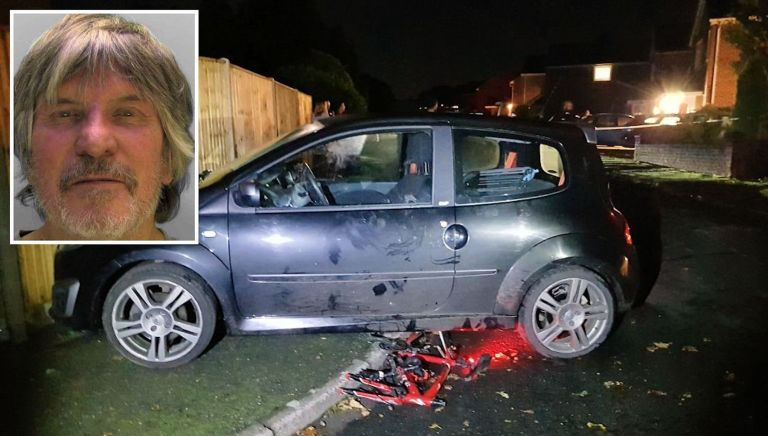 The unattended car after the crash and (inset) driver Keith Vernon
