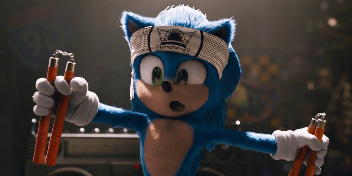 Sonic the Hedgehog with nunchucks
