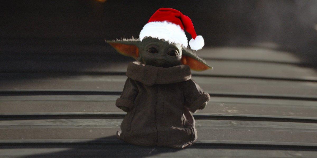 The Mandalorian's Baby Yoda in a Santa Hat
