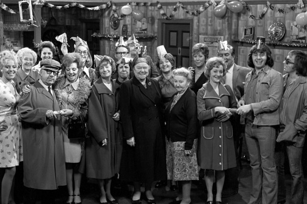 In 1974, Coronation Street stars during a Christmas Party sequence at the Rovers Return, as actress Anne Kirkbride (third left back) (PA)