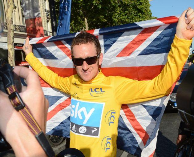 Bradley Wiggins and flag, Tour de France 2012, stage 20