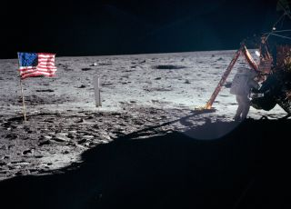 Neil Armstrong on the moon during the Apollo 11 mission in 1969.