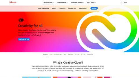 Adobe Creative Cloud's homepage
