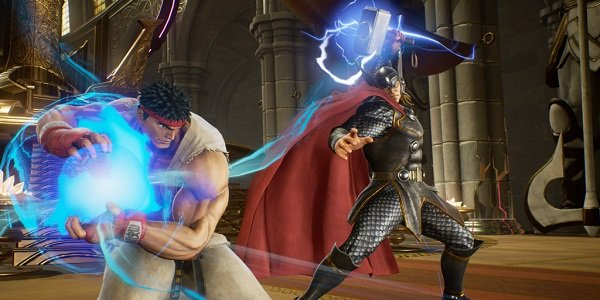 Ryu fights Thor in Marvel vs. Capcom Infinite