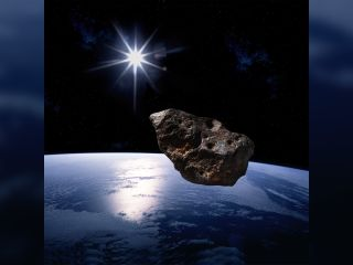 An artist's concept of an asteroid approaching Earth.