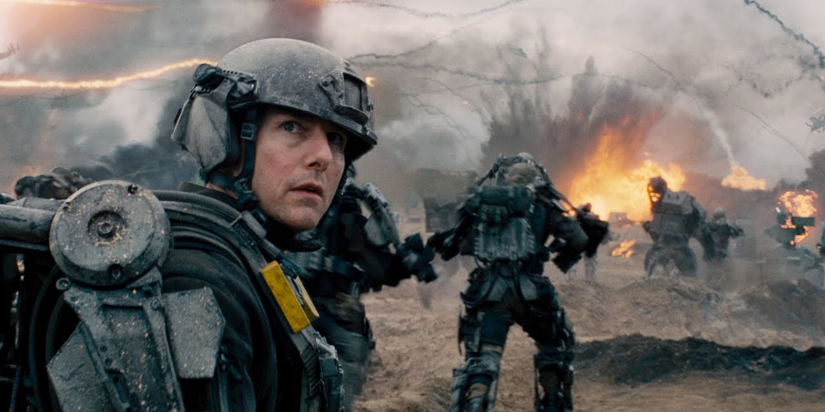 Cage running for his life in Edge of Tomorrow
