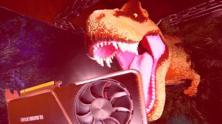 Nvidia RTX 30-Series GPU being gobbled up by a T-Rex
