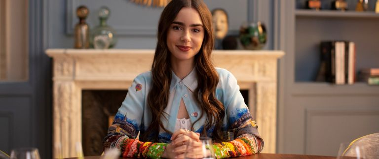 Lily Collins in Emily in Paris for Netflix