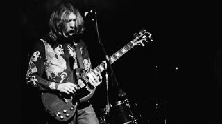 Musician Duane Allman (1946 - 1971) of American rock group The Allman Brothers Band performs at the last night at Fillmore East, a nightclub on Second Avenue, New York City, before the closing of the venue, 27th June 1971.