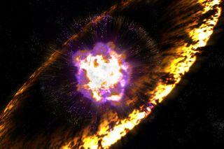 [Pin It] An artist's illustration of a supernova explosion,