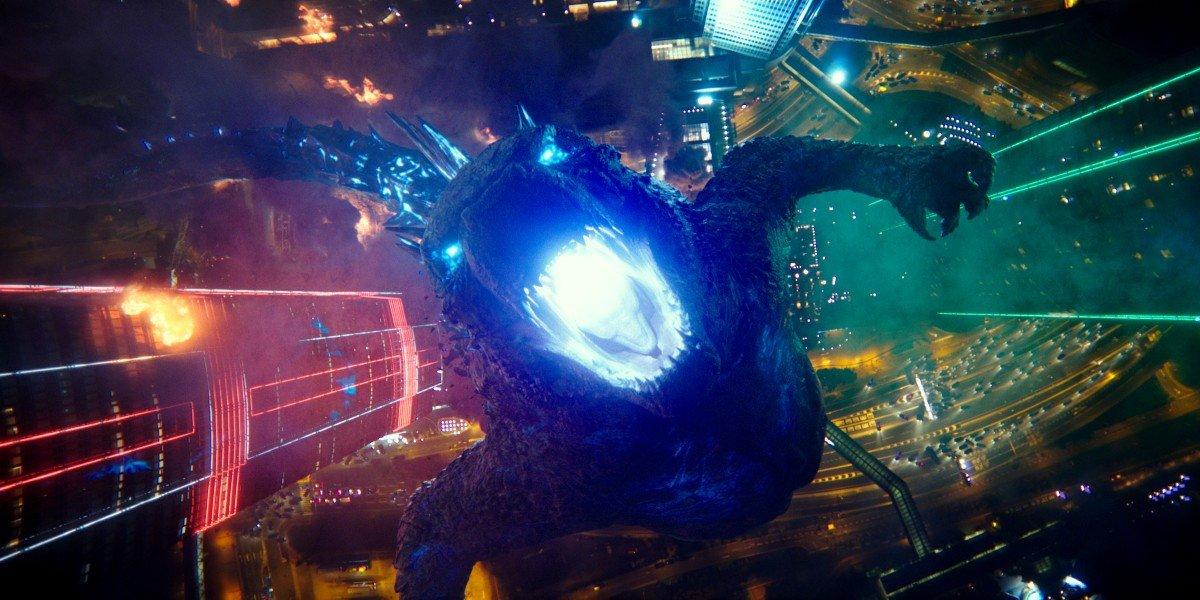 Godzilla roaring with atomic breath in Godzilla vs. Kong