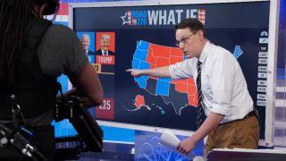 MSNBC's Steve Kornacki monitors the big board as votes come in.