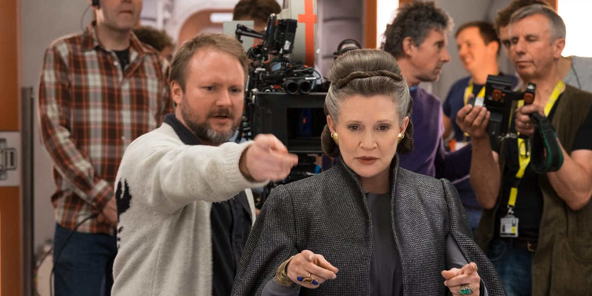 Rian Johnson with Carrie Fisher making Star Wars The Last Jedi