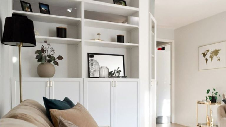IKEA BILLY bookcase designed to look like a wall with home decor accessories