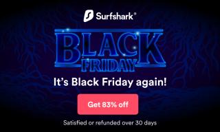 Surfshark banner displaying the 83% off Black Friday deal