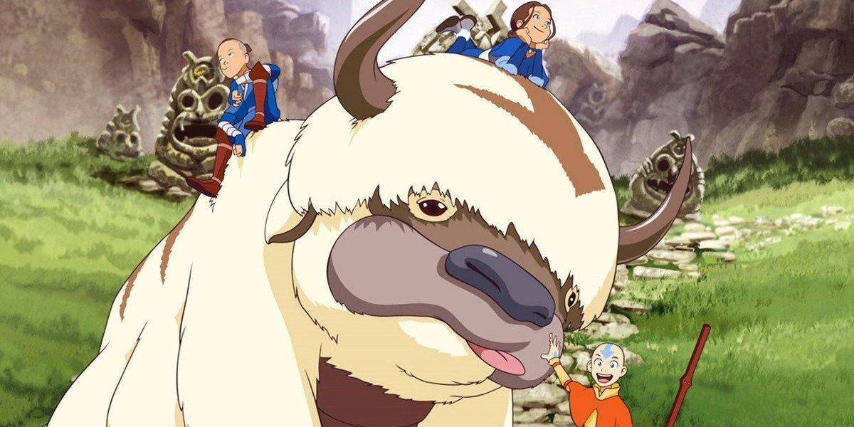 Appa, Sokka, Katara, and Aang