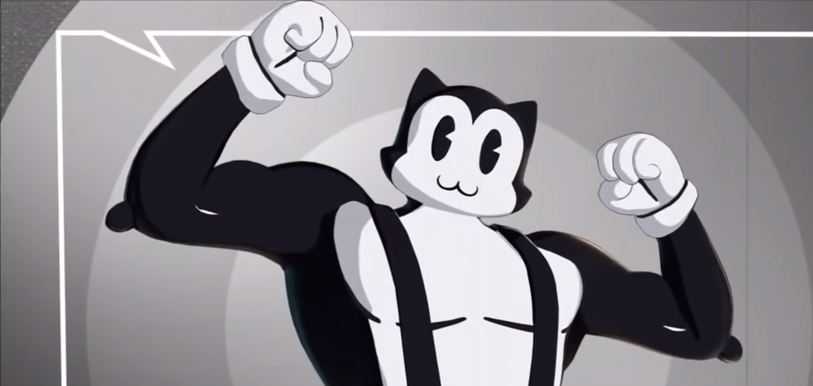 A Fortnite skin of a muscly cat
