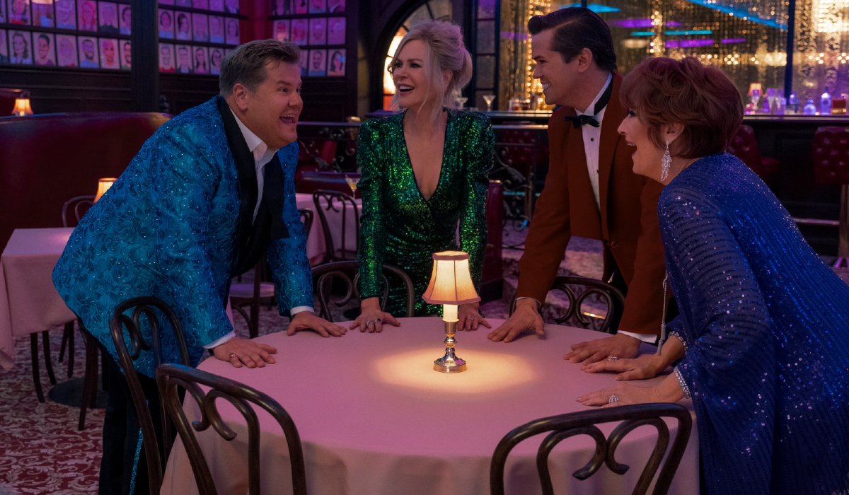 The Prom James Corden, Nicole Kidman, Andrew Rannells, and Meryl Streep in a giddy circle