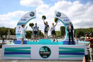 Cycling: 103th Tour de France 2016 / Women Race Podium / Lotta EPISTO (FIN)/ Chloe HOSKING (AUS) / Marianne VOS (NED)/ Celebration / Paris Champs-Elysees - Paris Champs-Elysees (89Km)/ Le Course by Le Tour / TDF / © Tim De Waele