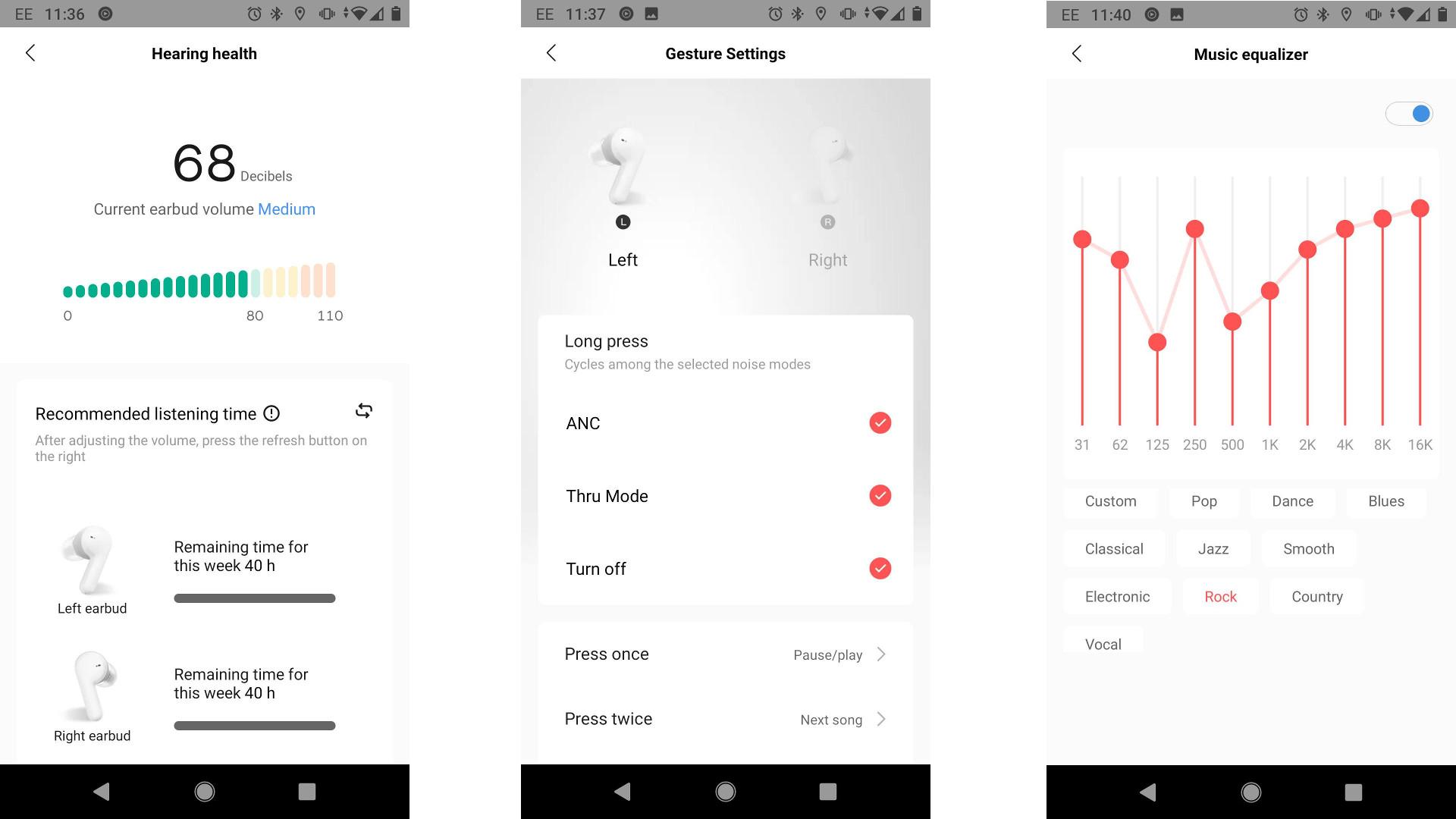 Amazfits Powerbuds Pro settings in the Zepp app