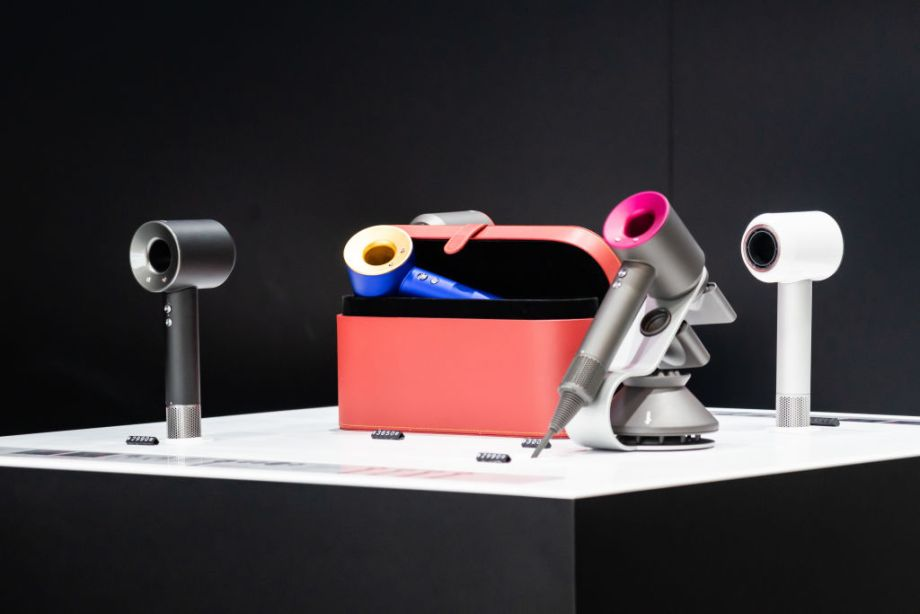 Hair dryers seen at a British technology company Dyson store