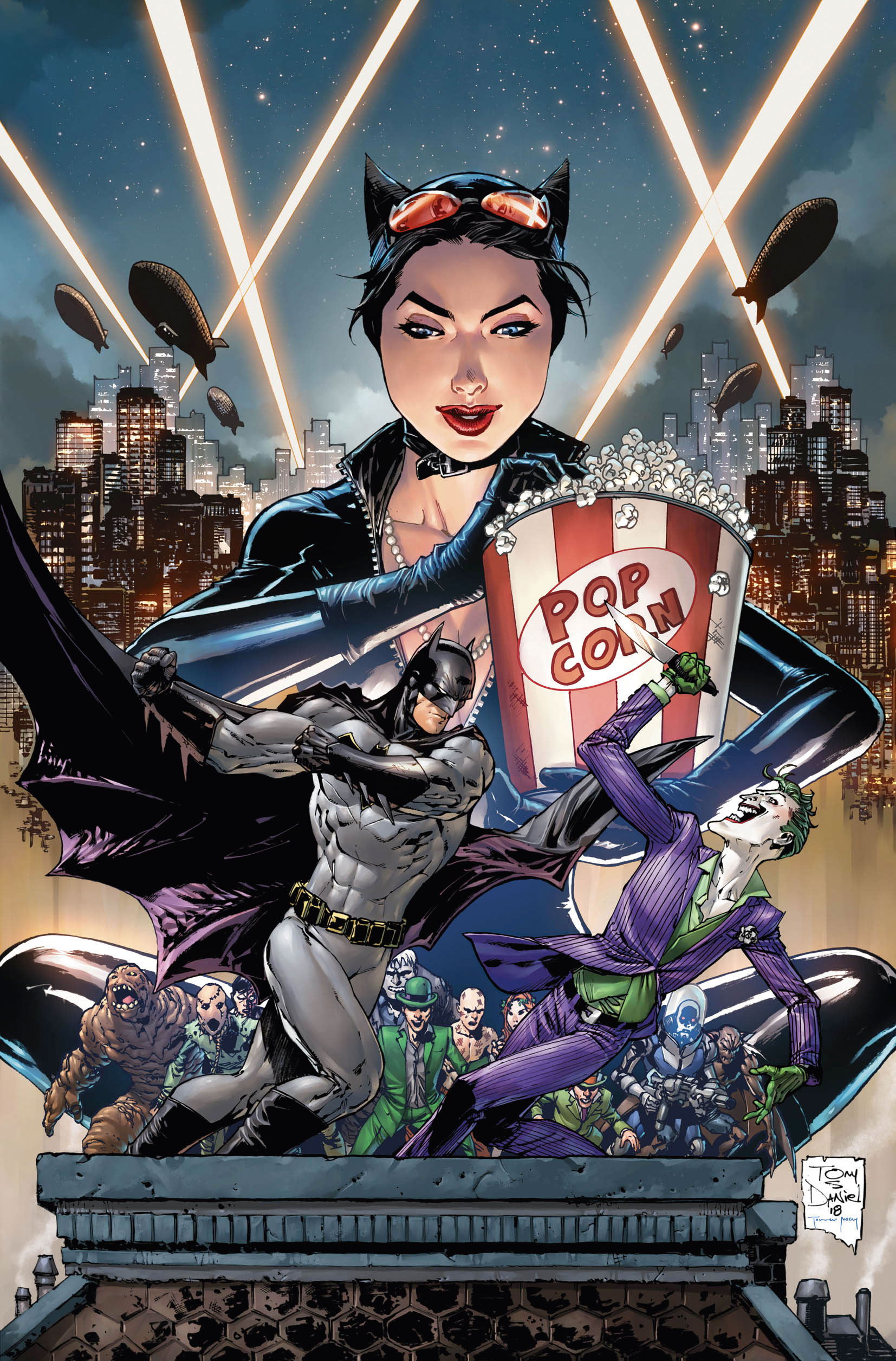 Catwoman feasts on pop corn as she watches Batman fight the Joker