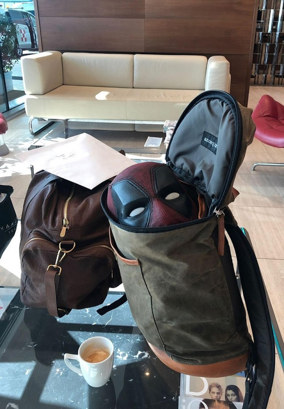 Ryan Reynolds' Instagram post, with Deadpool's mask coming out of his bag