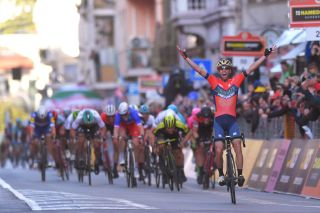 SANREMO, ITALY - MARCH 17: Arrival / Vincenzo Nibali of Italy and Team Bahrain-Merida / Celebration / Caleb Ewan of Australia and Team Mitchelton-Scott / during the 109th Milan-Sanremo 2018 a 291km race from Milan to Sanremo on March 17, 2018 in Sanremo, Italy. (Photo by Tim de Waele/Getty Images)