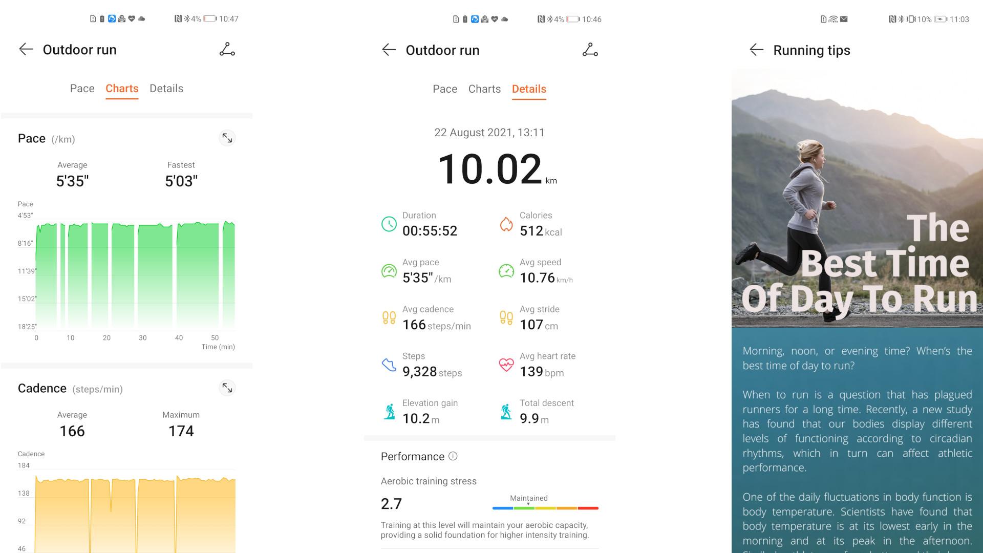 Running statistics in the Huawei Health app