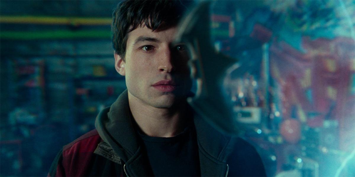 Ezra Miller looking at Baterang in Justice League