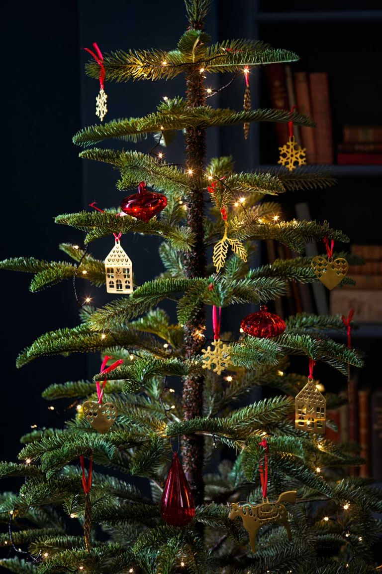real Christmas tree and baubles