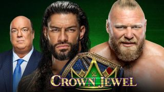 Roman Reigns (with Paul Heyman) and Brock Lesnar fight in the main event a the WWE Crown Jewel 2021 live stream
