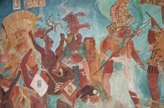 Reconstruction of the Bonampak frescos, dating to the Late Classical period.