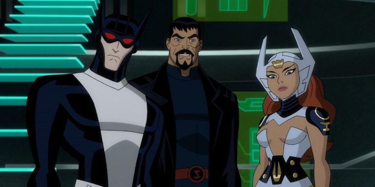 Michael C. Hall, Benjamin Bratt, and Tamara Taylor in Justice League: Gods and Monsters