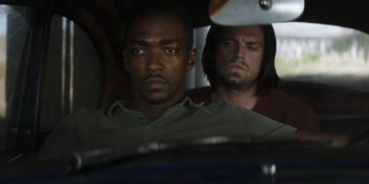 Anthony Mackie and Sebastian Stan in Captain America: Civil War
