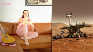 """The cover art for Foxanne's single, """"Opportunity,"""" released Oct. 9, 2020. On the right is an artist's impression of NASA's Opportunity rover on Mars."""
