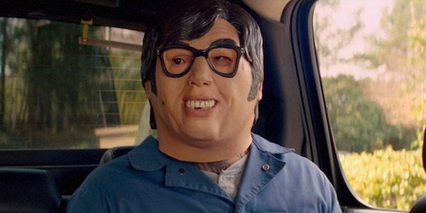 Guy wearing Austin Powers mask in Baby Driver