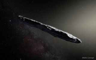 An artist's interpretation of 'Oumuamua, the first confirmed interstellar object ever observed in our solar system.