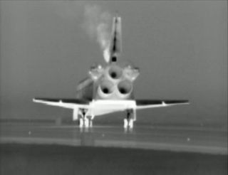 Rear view of space shuttle Atlantis after final landing
