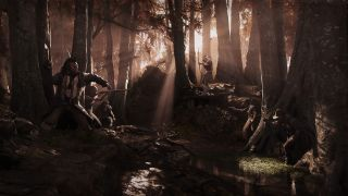 An image of various hunters all fighting in a forest in Hunt: Showdown