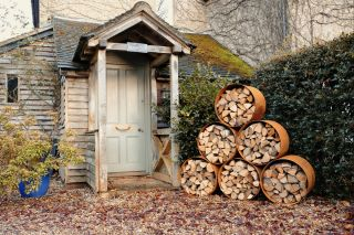 Corten steel log store idea
