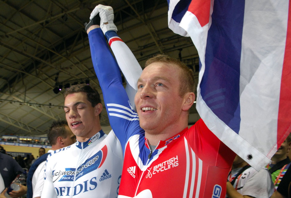 Chris Hoy victorious with Union flag