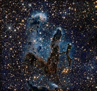 The 'Pillars of Creation' glow in infrared light