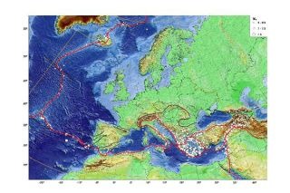 European earthquake map