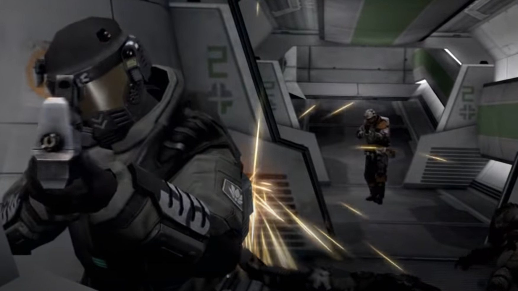 Soldiers shoot it out inside a sci-fi corridor