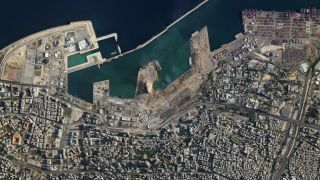 This view of the destruction caused by an explosion in the port of Beirut was captured by a SkySat satellite operated by San Francisco-based company Planet on Aug. 5, 2020.