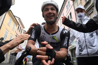 Team Qhubeka Assos rider Belgiums Victor Campenaerts celebrates winning the 15th stage of the Giro dItalia 2021 cycling race 147km between Grado and Gorizia on May 23 2021 Photo by Marco ALPOZZI POOL AFP Photo by MARCO ALPOZZIPOOLAFP via Getty Images