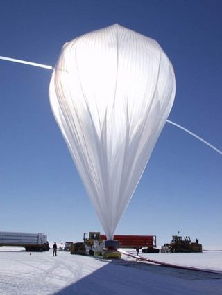 High pressure helium is used to inflate the balloon that will carry X-Calibur high into the atmosphere. This photo of the balloon was taken during a previous mission in Antarctica.
