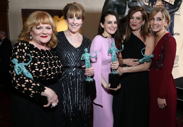 Lesley Nicol, from left, Phyllis Logan, Sophie McShera, Raquel Cassidy, and Joanne Froggatt from Downton Abbey. (John Salangsang/Invision/AP)